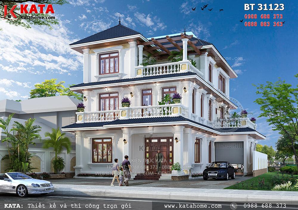 Mẫu mẫu biệt thự đẹp phong cách hiện đại 3 tầng mái Thái tại Đồng Nai – Mã số: BT 31123