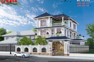 Phong cách kiến trúc hiện đại đã góp phần nâng tầm được vẻ đẹp của không gian mặt tiền mẫu nhà 3 tầng mái thái