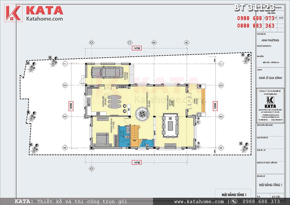 Mặt bằng công năng tầng 1 của mẫu nhà 3 tầng mái Thái hiện đại tại Đồng Nai - Mã số: BT 31123