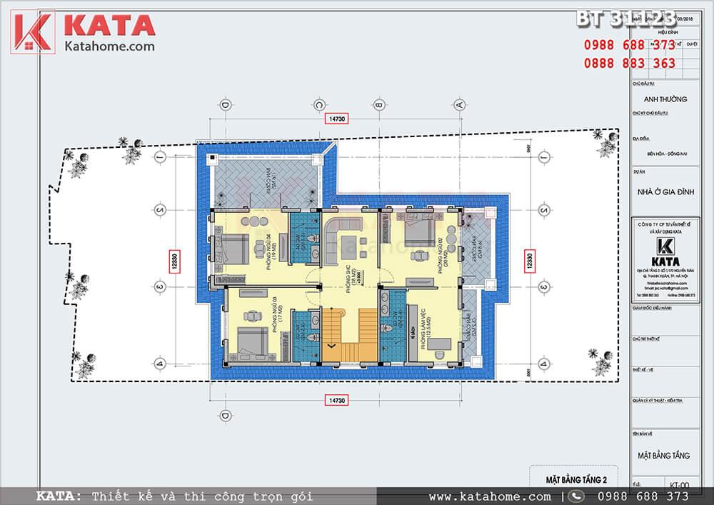 Mặt bằng công năng tầng 2 của mẫu nhà 3 tầng mái Thái hiện đại tại Đồng Nai - Mã số: BT 31123