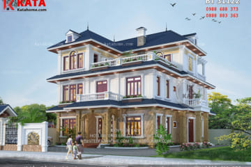 Không gian mặt tiền 3D của mẫu Biệt thự nhà vườn mái Thái đẹp 3 tầng tại Thanh Hóa - Mã số: 31122