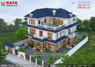 Tổng thể hoàn hảo của mẫu biệt thự nhà vườn mái Thái đẹp 3 tầng khi được nhìn từ trên cao xuống