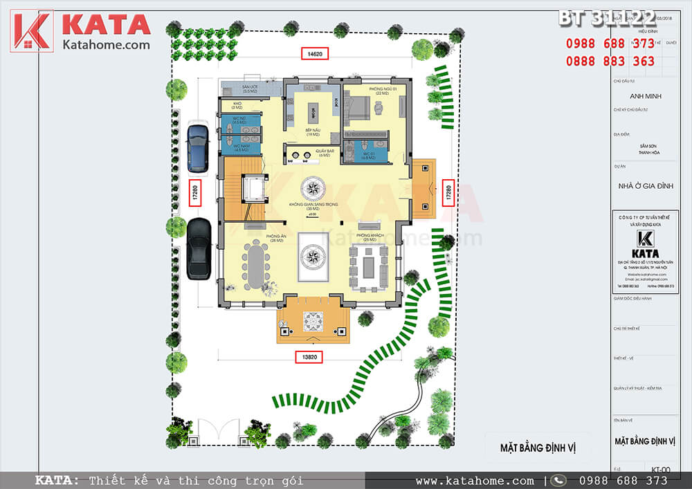 Mặt bằng công năng chi tiết tầng 1 của mẫu biệt thự nhà vườn mái Thái đẹp 3 tầng tại Thanh Hóa