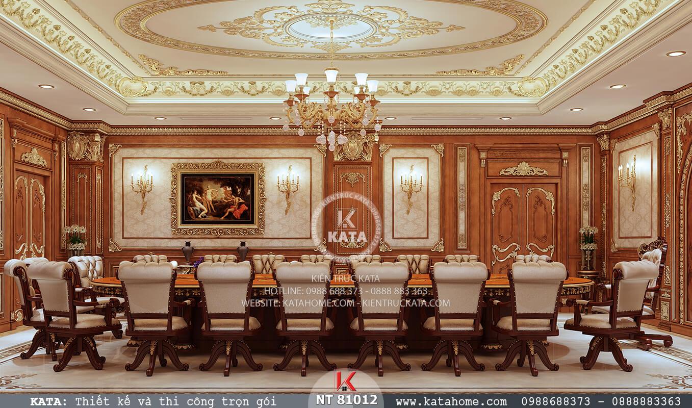 View nhìn tổng quan mẫu phòng họp đẹp thiết kế theo phong cách tân cổ điển