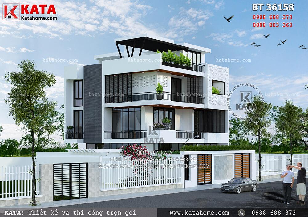 Phối cảnh 3D chi tiết không gian ngoại thất của mẫu thiết kế biệt thự 3 tầng 1 tum - Mã số: BT 36158