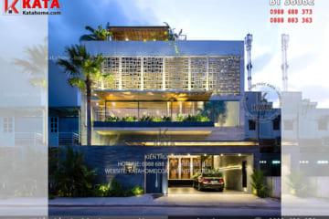 Tổng thể phong cách kiến trúc hiện đại của mẫu nhà biệt thự phố 3 tầng tại Phú Thọ - Mã số: BT 36062