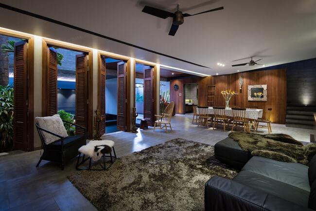 Không gian phòng khách và phòng ăn của mẫu nhà biệt thự phố 3 tầng tại Phú Thọ - Mã số: BT 36062