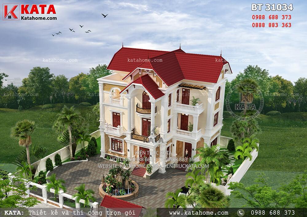 Biệt thự đẹp 3 tầng kiểu Pháp kết hợp mái Thái tân cổ điển tại Hà Nam – Mã số: BT 31034