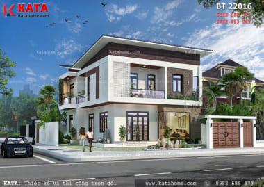 Phối cảnh mặt tiền của mẫu biệt thự nhà vườn 2 tầng mái chéo tại Thái Bình - Mã số: BT 22016