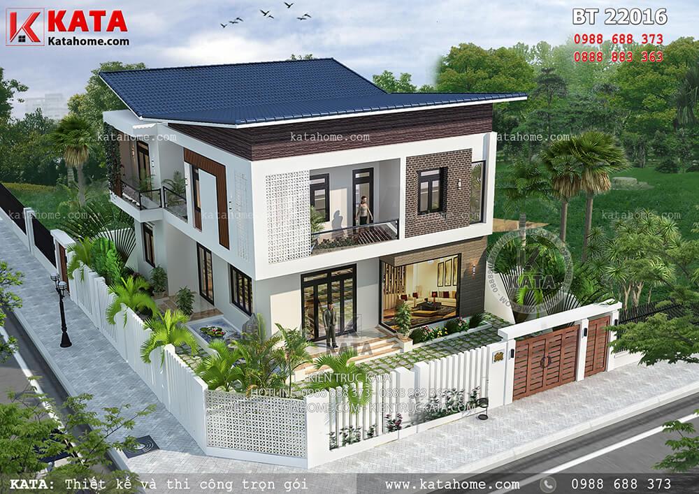 Biệt thự đẹp 2 tầng mái chéo hiện đại kết hợp sân vườn tại Thái Bình – Mã số: BT 22016