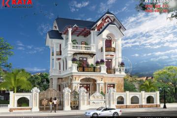 Phối cảnh tổng thể 3D chi tiết cho không gian ngoại thất của mẫu nhà mái Thái 3 tầng tân cổ điển tại Thái Bình - Mã số: BT 31135