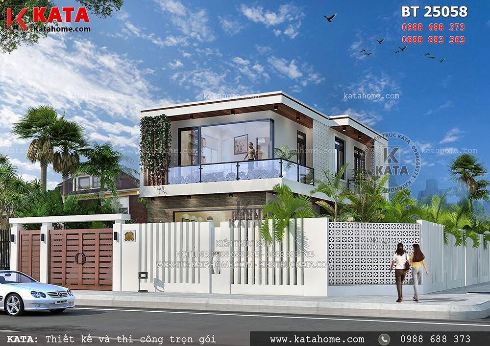 Mẫu biệt thự đẹp 2 tầng 2 mặt tiền hiện đại tại Thái Nguyên – Mã số: BT 25058 - Thiết kế nhà đẹp