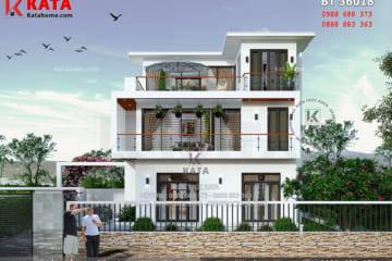 Tổng quan không gian ngoại thất của bản vẽ thiết kế biệt thự 3 tầng hiện đại tại Hưng Yên - Mã số: BT 36018