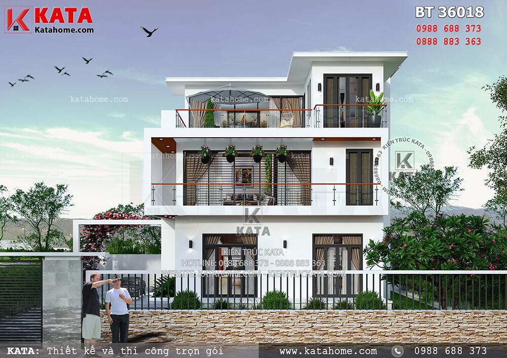 Bản vẽ thiết kế biệt thự 3 tầng hiện đại tại Hưng Yên – Mã số: BT 36018