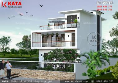 Kiến trúc hiện đại được thể hiện thông qua các nguyên vật liệu hiện đại được đắp bên ngoài bản vẽ thiết kế biệt thự 3 tầng