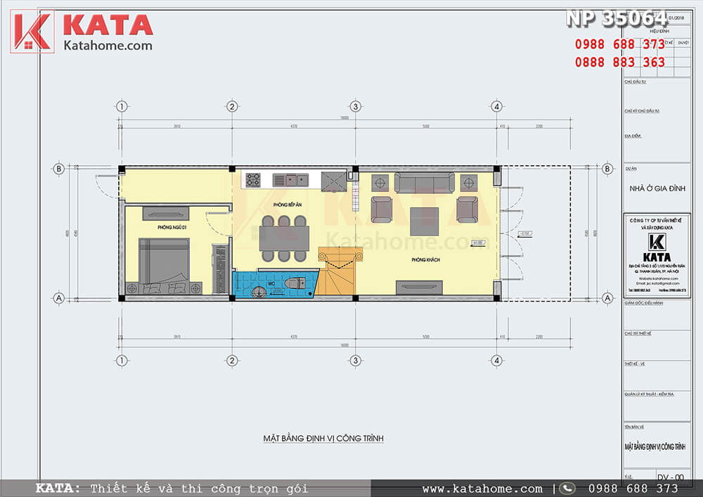Mặt bằng công năng của mẫu mặt tiền nhà ống 3 tầng đẹp tại Hà Nam - Mã số: NP 35064