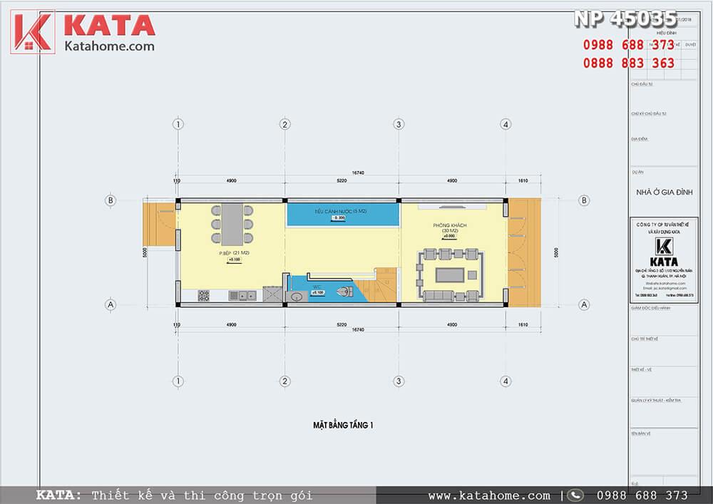 Mặt bằng công năng chi tiết của mẫu nhà ống đẹp 4 tầng tân cổ điển đẹp tại Nam Định - Mã số: NP 45053