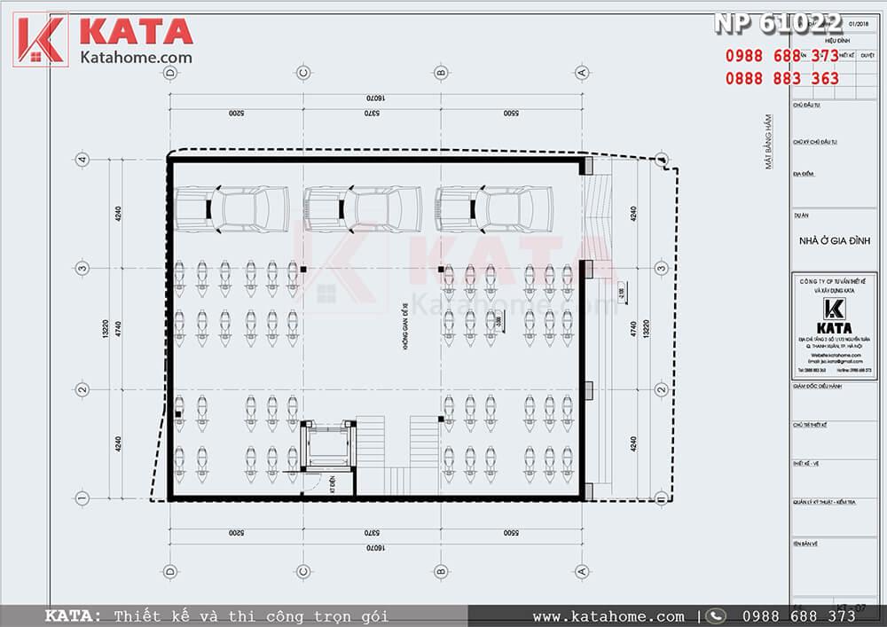Mặt bằng công năng tầng hầm của mẫu nhà phố tân cổ điển 5 tầng 1 tum - Mã số: NP 61022