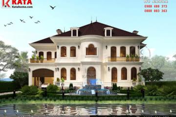 Phối cảnh 3D tổng thể chi tiết không gian ngoại thất của mẫu biệt thự nhà vườn 2 tầng Châu Âu tại Vĩnh Phúc - Mã số: BT 21011