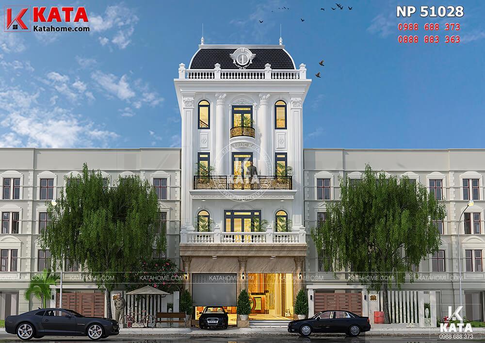 Mẫu thiết kế khách sạn nhà phố 5 tầng được trang trí vô cùng sang trọng bởi những chi tiết trang trí tân cổ điển - Mã số: NP 51028