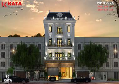 Hệ thống mái Mansard giúp cho không gian ngoại thất của mẫu thiết kế khách sạn nhà phố trở nên hợp nhất thành một tổng thể hoàn hảo