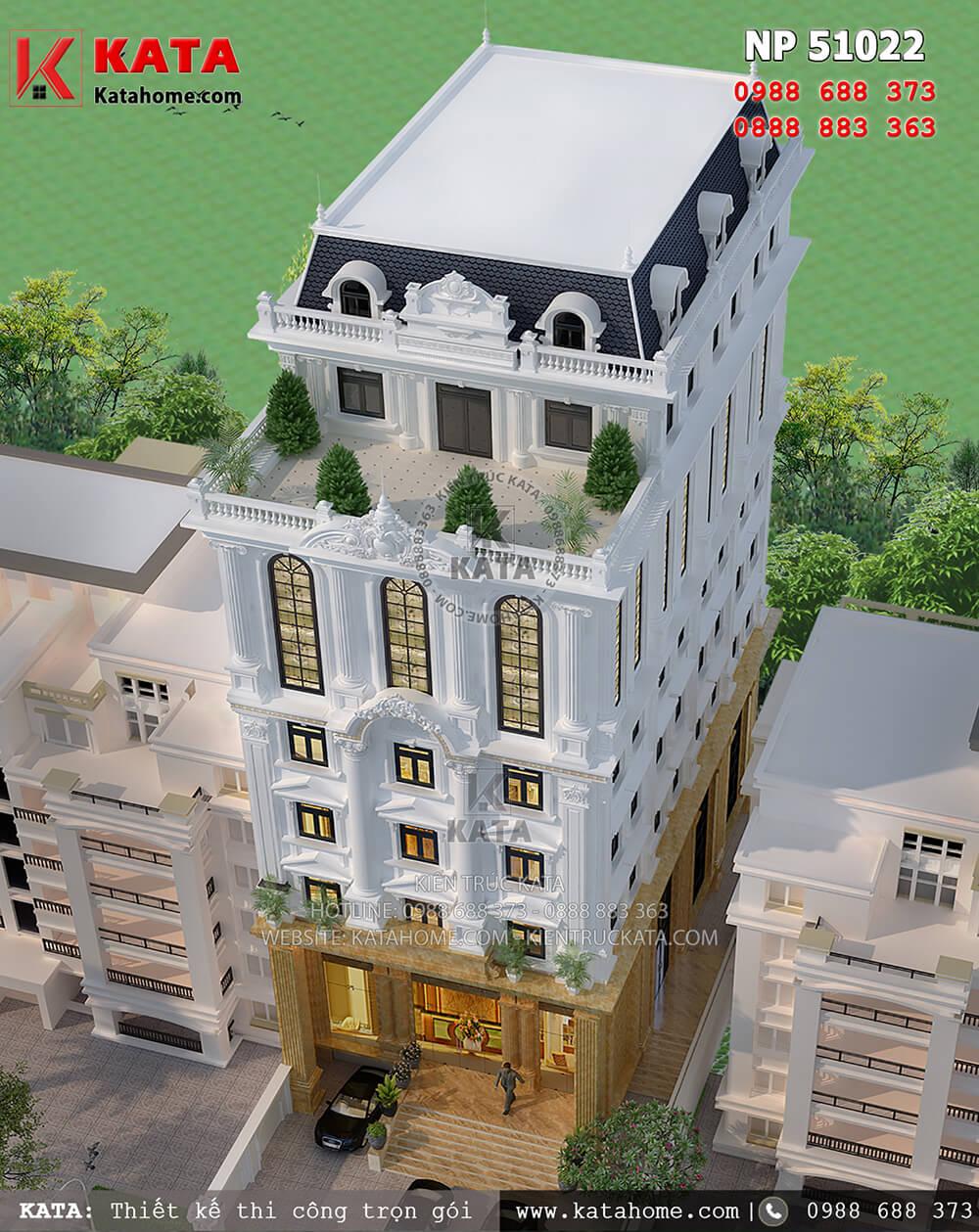 Mẫu thiết kế khách sạn 5 tầng tân cổ điển tại Tam Đảo đạt tiêu chuẩn khách sạn 3 sao nhìn từ trên cao