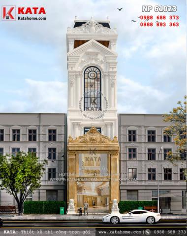 Không gian mặt tiền của mẫu thiết kế nhà ống mặt tiền 5m mang phong cách kiến trúc Pháp tân cổ điển - Mã số: NP 61023