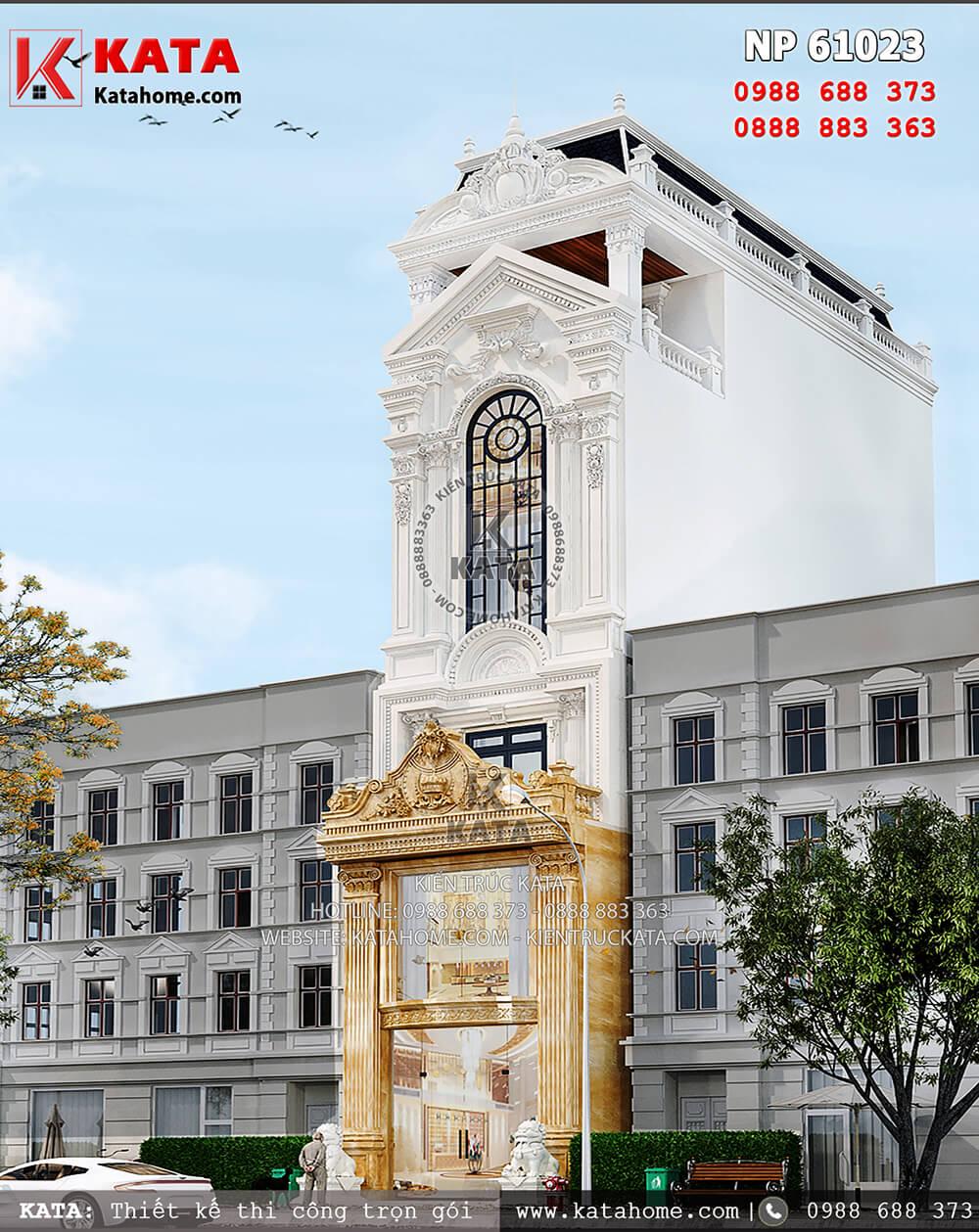 Vẻ đẹp của phong cách kiến trúc Pháp tân cổ điển được mẫu thiết kế nhà ống mặt tiền 5m thể hiện một cách rất trọn vẹn - Mã số: NP 61023
