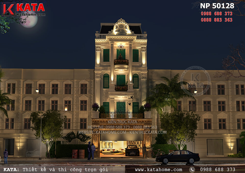 Ngoại cảnh 3D khi trời tối của bản thiết kế mặt tiền nhà phố tân cổ điển Pháp 5 tầng tại Đà Lạt - Mã số: NP 50128