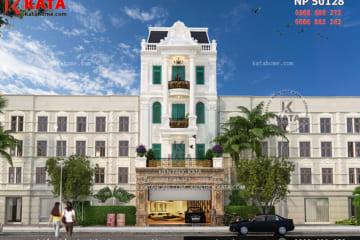 Phối cảnh tổng thể không gian ngoại thất của bản thiết kế mặt tiền nhà phố tân cổ điển Pháp 5 tầng tại Đà Lạt, Lâm Đồng - Mã số: NP 50128