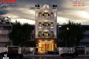 Không gian ngoại thất của mẫu thiết kế nhà nghỉ - khách sạn được làm nổi bật lên nhờ phong cách kiến trúc tân cổ điển - Mã số: NP 48101