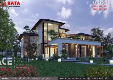 Không gian ngoại thất của mẫu thiết kế nhà Villa 2 tầng tại Hà Nội - Mã số: BT 26012