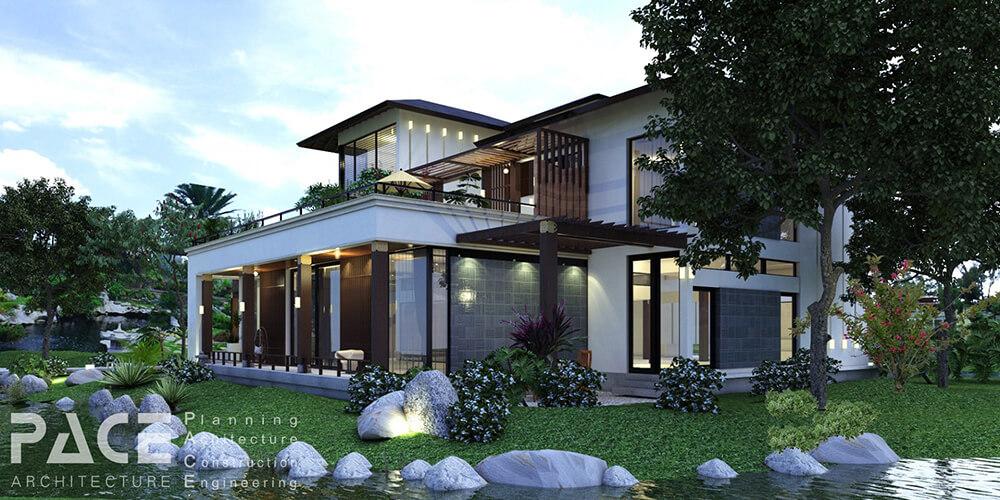 Phong cách kiến trúc hiện đại đã mang lại một vẻ đẹp, sự cá tính cho tổng thể mẫu thiết kế nhà Villa 2 tầng - Mã số: BT 26012