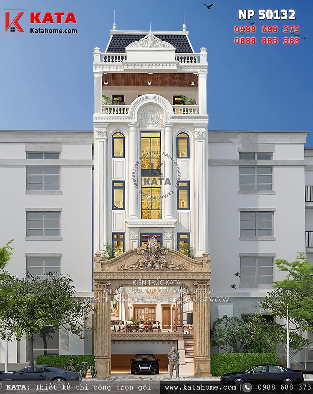 Mặt tiền của mẫu thiết kế khách sạn 2 sao kiến trúc tân cổ điển tại Nha Trang