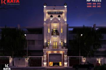Mẫu nhà ống tân cổ điển đẹp 4 tầng tại Nam Định lung linh, lộng lẫy về đêm qua hệ thống cửa kính cùng ánh đèn đầy sang trọng