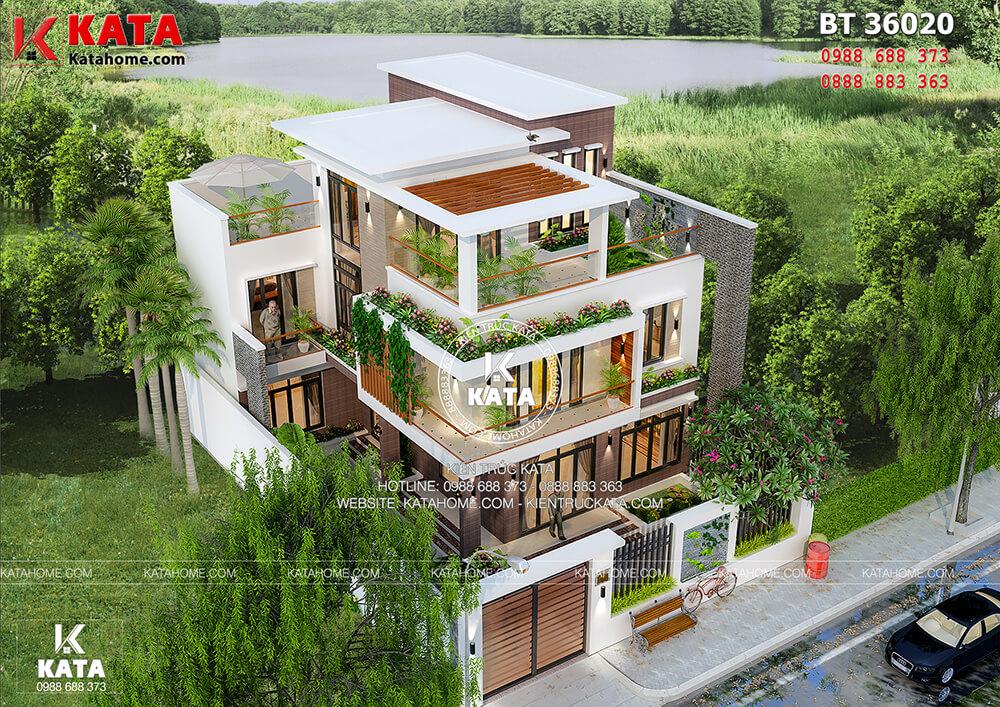 Thiết kế biệt thự đẹp 3 tầng kiểu hiện đại kết hợp sân vườn tại Quảng Ninh – Mã số: BT 36020