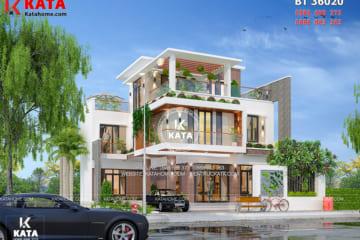 Phối cảnh tổng thể của mẫu biệt thự 3 tầng kiểu hiện đại tại Quảng Ninh - Mã số: BT 36020