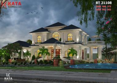 Vẻ đẹp sang trọng, đẳng cấp của mẫu thiết kế biệt thự nhà vườn 2 tầng đẹp được làm nổi bật lên nhờ vào nguyên vật liệu cao cấp