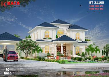 Tổng thể không gian ngoại thất của mẫu thiết kế biệt thự nhà vườn 2 tầng đẹp - Mã số: BT 21108