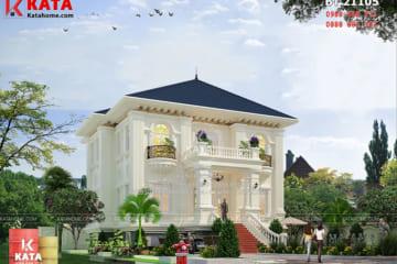 Phối cảnh tổng thể của mẫu thiết kế biệt thự 2 tầng kiểu Pháp đẹp tại Hà Nội - Mã số: BT 21105