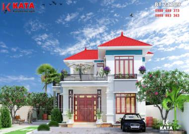 Mặt tiền của mẫu nhà mái thái đẹp 2 tầng tại Bắc Giang