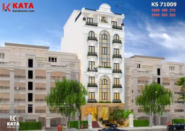 Không gian ngoại thất của mẫu khách sạn 3 sao Hà Nội trở nên ấn tượng nhờ các khối hình bắt mắt