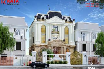 Phối cảnh ngoại thất 3D của mẫu thiết kế biệt thự tân cổ điển đẹp 3 tầng - Mã số: BT 32026