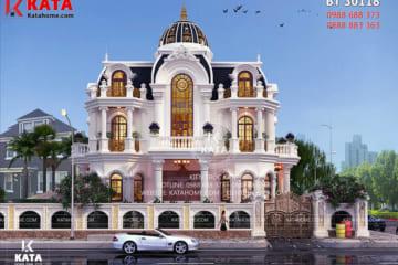 Phối cảnh tổng thể 3D chi tiết của mẫu nhà tân cổ điển 3 tầng kiểu Pháp đẹp tại KĐT Phú Mỹ Hưng - TPHCM