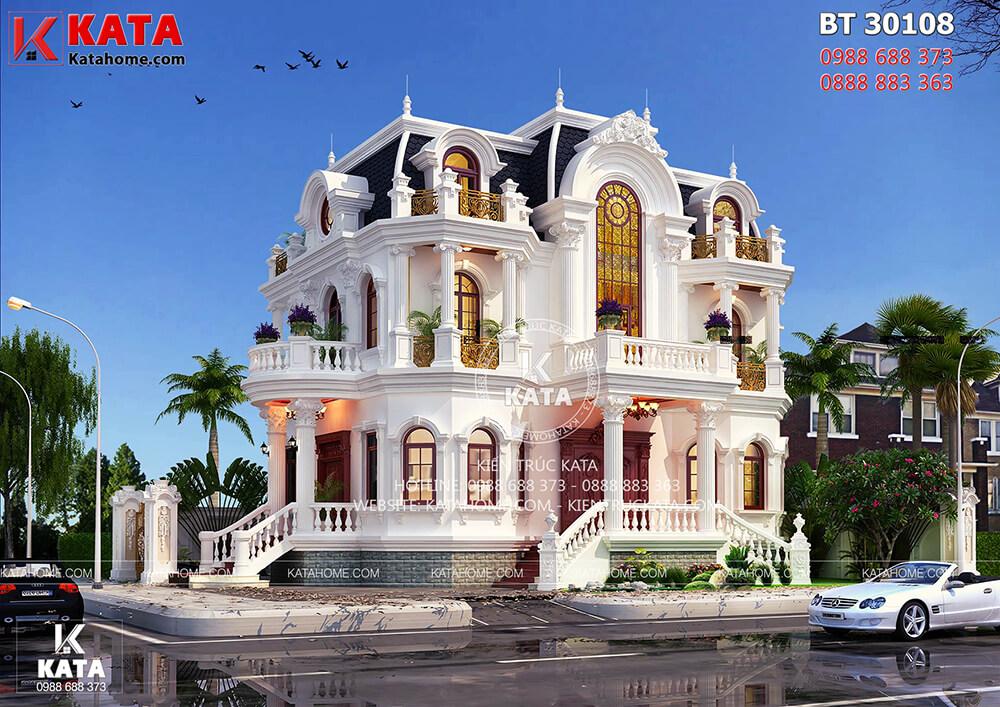 Không gian ngoại thất của mẫu nhà đẹp 3 tầng tân cổ điển kiểu Pháp được thiết kế với nhiều nguyên vật liệu cao cấp