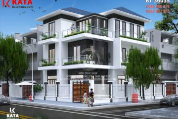 Phối cảnh 3D chi tiết cho mẫu biệt thự hiện đại 3 tầng mái Tháitại Vĩnh Phúc