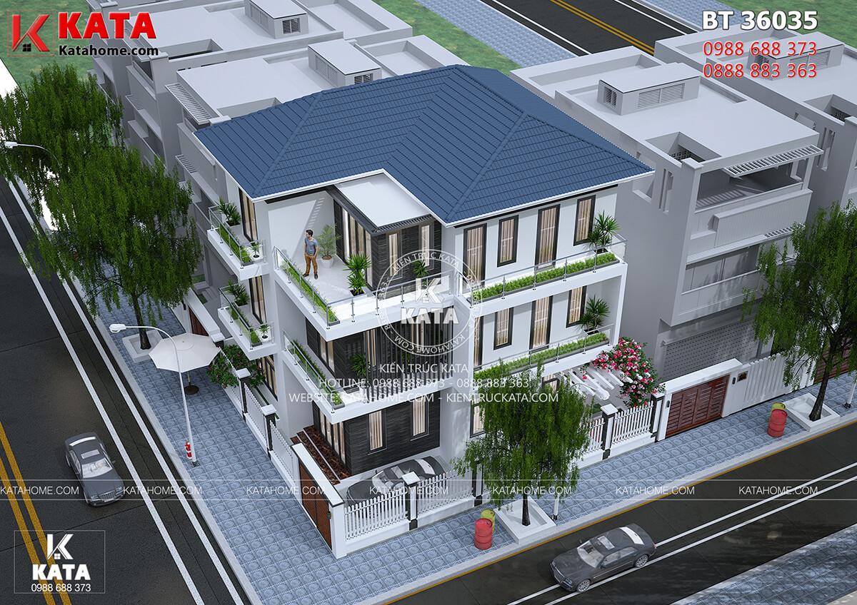 Không gian kiến trúc hiện đại của mẫu biệt thự hiện đại 3 tầng mái Thái mang lại một không gian sống hoàn hảo - Mã số: BT 36035