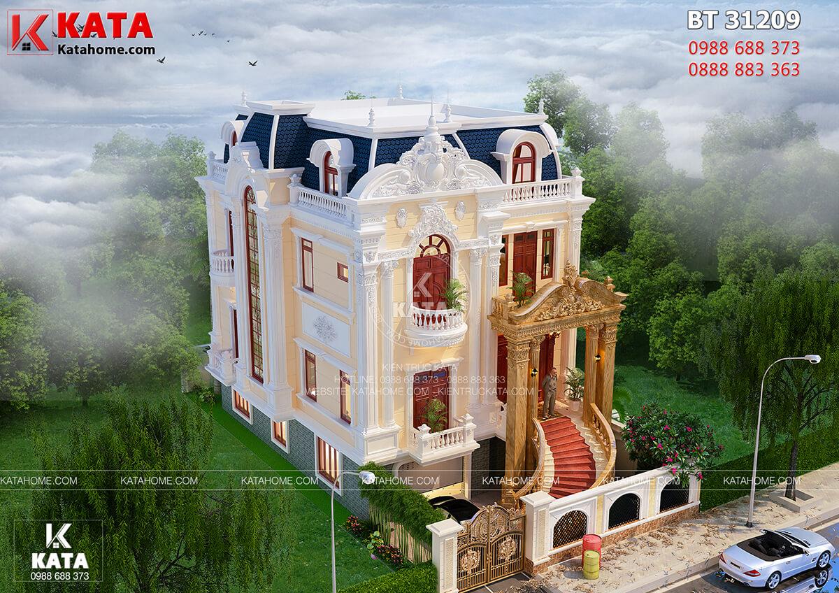 Tổng thể kiến trúc mẫu nhà 3 tầng tân cổ điển khi được nhìn từ trên xuống