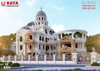Phối cảnh 3D tổng thể của mẫu thiết kế lâu đài đẹp 300m2 tại Hải Dương