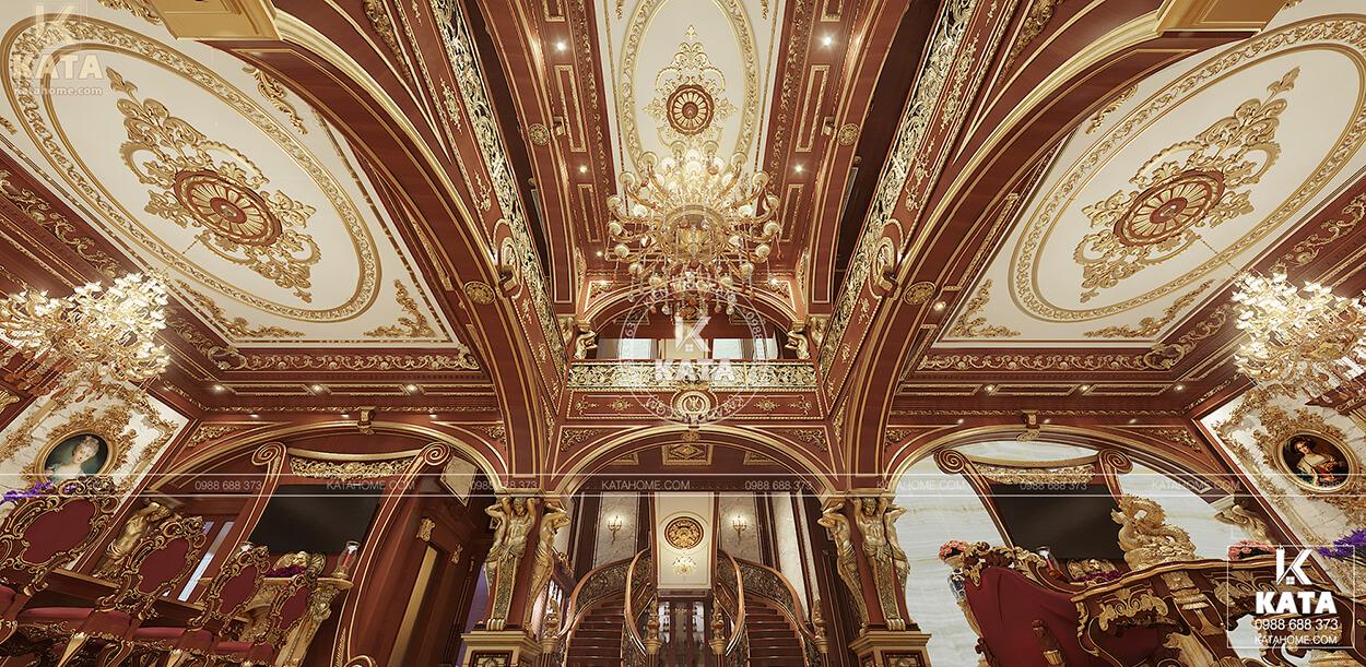 Không gian xa xỉ với gỗ tự nhiên và họa tiết dát vàng